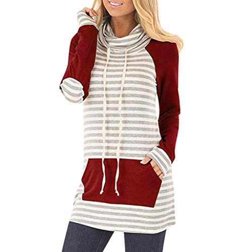 Sunmoot Striped Patchwork Tops for Women Cowl Neck Long Sleeve Casual Loose Tunic T-Shirt Pullover Sweatshirt ()