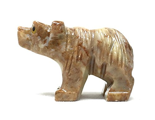 Nelson Creations Bear Soapstone Animal Carving Charm Totem Figurine | 1.5