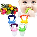 Toddlers Baby Teether Vegetable Fruit Feeder Infant Teething Toy Ring Chewable Soother (Light Blue, S)