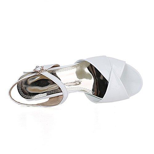 Patent Sandals Kitten WeenFashion Heels Women's White Buckle Toe Leather Open Solid 5wxPqzXA