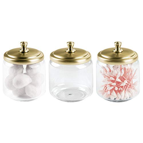 mDesign Glass Bathroom Vanity Storage Organizer Canisters Jars for Cotton Balls, Swabs, Makeup Sponges, Bath Salts, Hair Ties, Jewelry - 3 Pack - Clear/Soft Brass