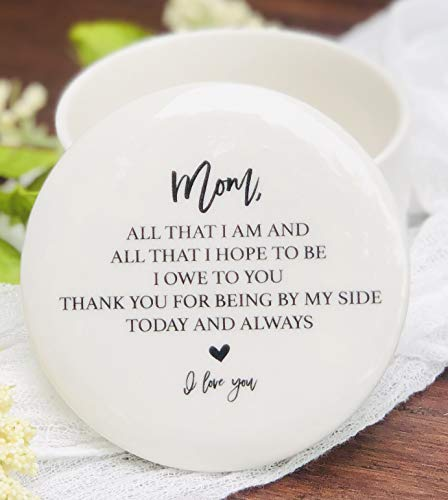"Mother of the Bride or Birthday Gift Idea for Mom from Daughter or Son Ceramic Round 3"" Jewelry Box"