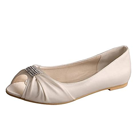 Wedopus MW1361 Rhinestones Wedding Peep Toe Women Ballet Flats Buckle Satin Bridal Shoes (12, Ivory)