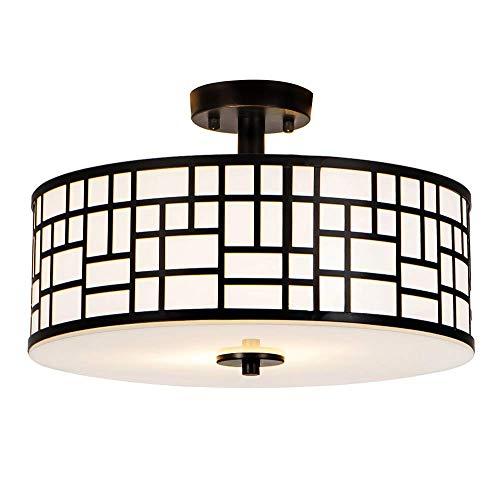 SOTTAE Elegant 16 inch 2 Lights Glass Diffuser Black Livingroom Bedroom Flush Mount Ceiling Light, Ceiling Lamp Fixture