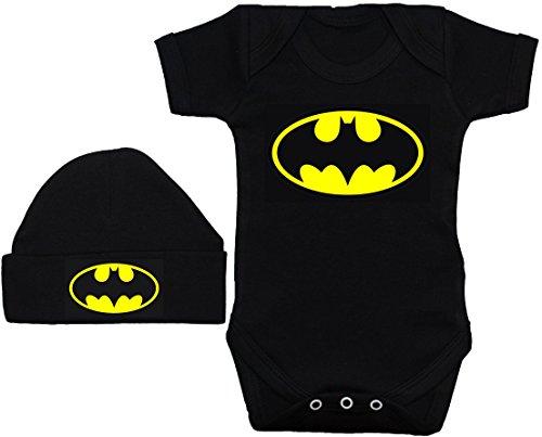 amp; Set shirt Noir Batman gilet Hat Bat À 12 barboteuse t Mois Beenie Bébé Body 0 zYqwHX
