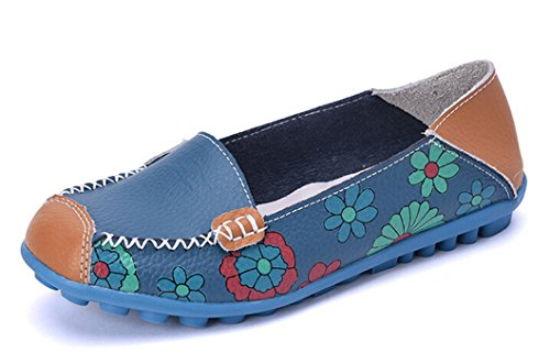 Bumud Womens Leather Casual Loafer Shoes Floral Printed Slip On Flats Blue tWS5J7