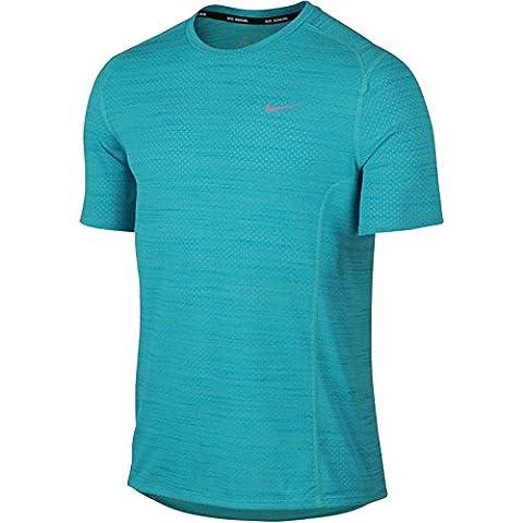 Nike Dri-FIT Cool Miler Running Shirt Omega Blue/Light Photo Blue/Reflective Silver Men's T Shirt (Nike 5 0 Men Green)