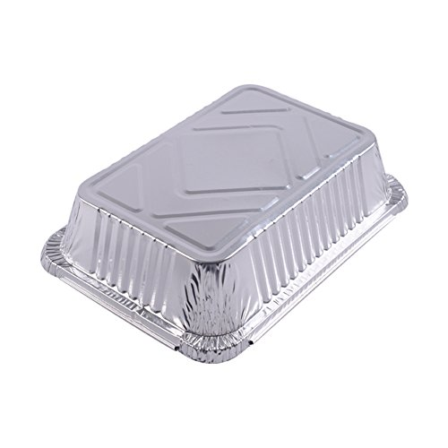 XIAFEI Disposable Durable Aluminum Rectangular Foil Pans, Take-Out Containers, Pack of 50 with PET Plastic Lids by XIAFEI (Image #4)