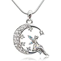 Crystal Embellished Silver Tone Fairy on Moon Pendant Necklace for Girls Teens and Women