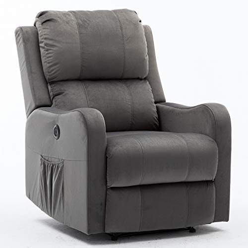 Bonzy Home Power Recliner Chair with Overstuffed Backrest - Velvet Fabric Electric Recliner Chair - Home Theater Seating - Bedroom & Living Room Chair Recliner Sofa (Gray) (Chairs Recliner Overstuffed)