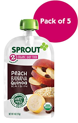 Sprout Organic Stage 2 Baby Food Pouches, Peach Banana Quinoa Raisin, 4 Ounce (Pack of 5)