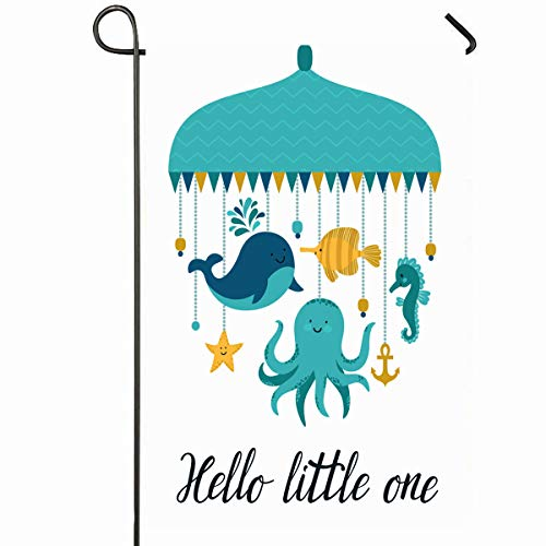 Ahawoso Outdoor Garden Flag 12x18 Inches Dream Baby Cute Characters Different Octopus Fish Nursery Whale Puppet Lullaby Design Seasonal Home Decorative House Yard Sign