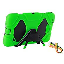 """KRYSTALH Armor Heavy Duty Rugged Impact Hybrid Case with Black Built in Kickstand Cover for Samsung Tablet Tab 4 7.0""""-inch T230/231/T235 Hard Rubber Shockproof Protective Case Cover with Built in Screen Protector(Green Tab 4 7.0 Defender)"""