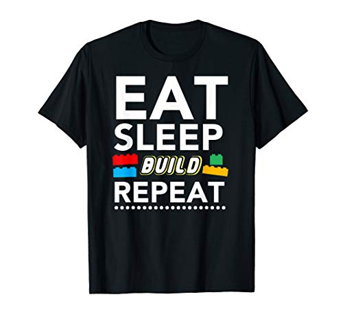 Eat Sleep Build Repeat Building Blocks Bricks Master Builder (Lego Bricks & More Building Plate 628)