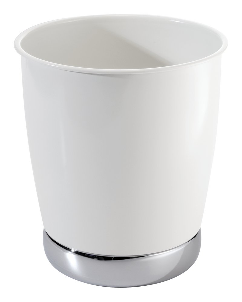 mDesign Round Metal Small Trash Can Wastebasket, Garbage Container Bin for Bathrooms, Kitchens, Home Offices - Solid Steel Construction in Glossy White with a Polished Chrome Base