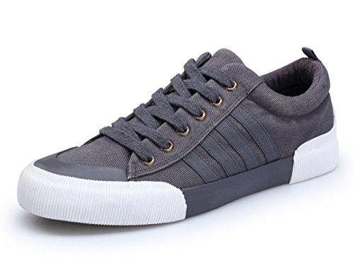 Honeystore Unisex-Erwachsene Sneakers Freizeitschuhe Sportschuhe Schnürer Stoffschuhe Fitness Streetstyle Flandell Grau