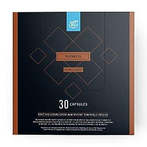 Marchio Amazon - Happy Belly  Ristretto Caffè UTZ tostato e macinato in capsule, compostabili, compatibili Nespresso, 30 capsule