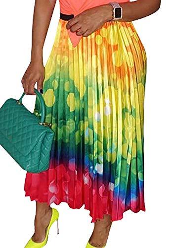 Voghtic Summer Sexy Rainbow Printed High Waisted A Line Street Skirt Pleated Full Midi Skirt