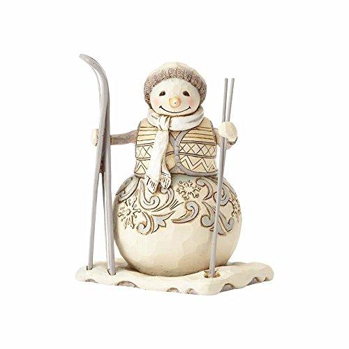 "Enesco Jim Shore Heartwood Creek White Woodland Downhill Dreamer Stone Resin Snowman Figurine, 4.75"""