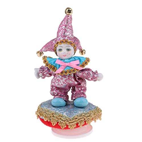 KODORIA Clown Doll Music Box Porcelain Doll with Standing Wishing Doll Desk Ornament Kids Birthday Gift Toy 8 inch - Pink (Collectible Porcelain Clown Doll)