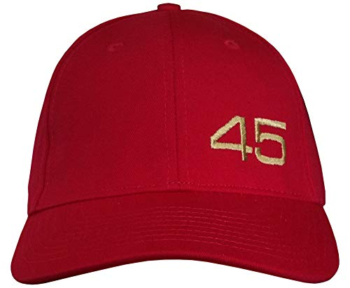 45 Trump Hat - Made in USA - Structured - Gold 45 Embroidered on Red Cap (USA-Made Structured Red/Gold 45-LH)