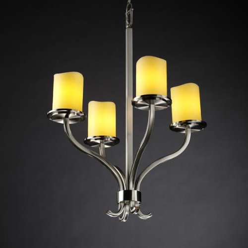 Justice Design Group CandleAria 4-Light Chandelier - Brushed Nickel Finish with Amber Faux Candle Resin Shade