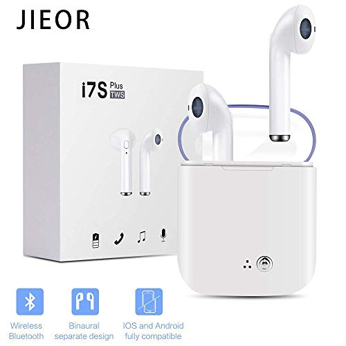 JIEOR Bluetooth Headphones,Wireless Earbuds Stereo Earphone Cordless Sport Headsets Compatible with Apple iPhone 8 X 7 7 Plus 6S 6S Plus, and Samsung Galaxy S7 S8 S8 Plus, Android Smart Phones by JIEOR