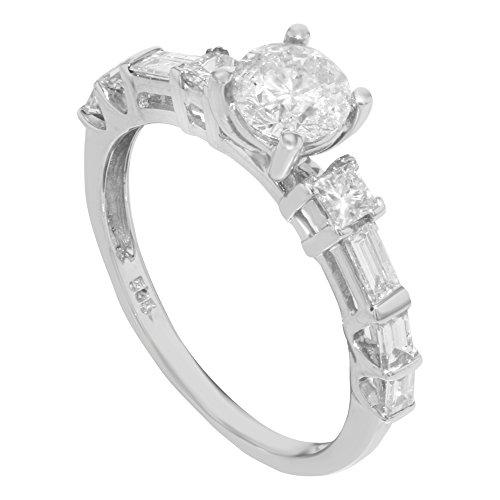 14K Or Blanc & environ. 1,40ct diamants Femmes Taille de Bague de Fiançailles (7,25)