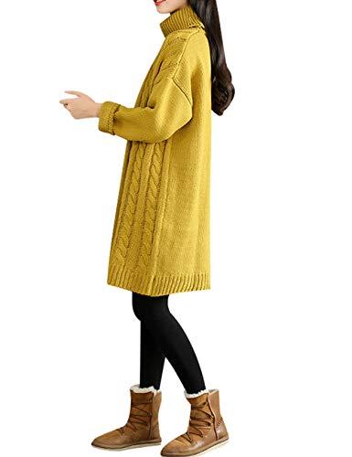 Jumper Trenzado De Jersey Youlee Cuello Tortuga Suéter Mujer Amarillo Patrón Tops n6Wq4Ogx