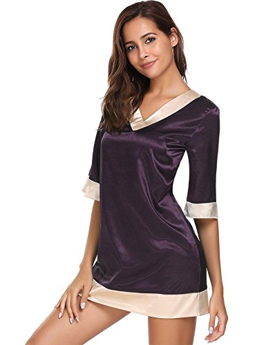 (L'amore Womens 3/4 Sleeve Sleep Dress Satin contrast trim Nightgown Sleepwear)