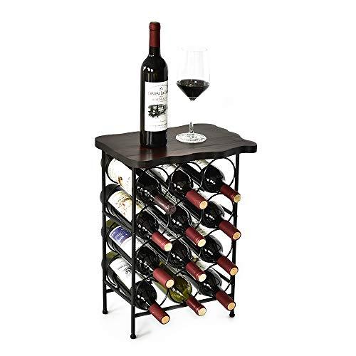 WELLAND Laura 12 Bottle Wine Rack with Solid Wood Table Top, Metal & Wood Free Standing Wine Storage Rack, Rustic Pine Wood -