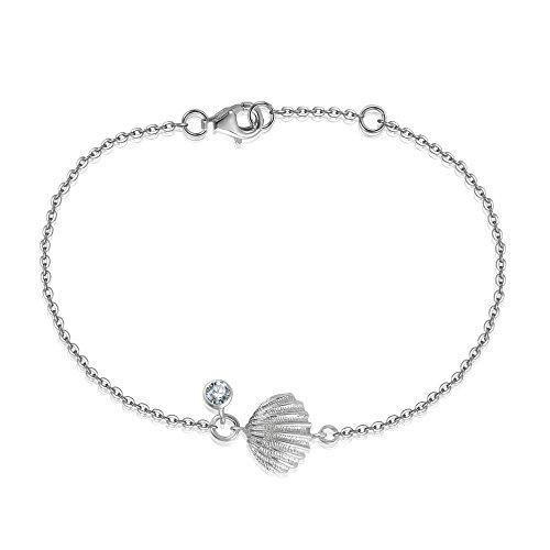 YAN & LEI Sterling Silver Sea Shell Scallop CZ Charm Slim Dainty Adjustable Bracelet in ()