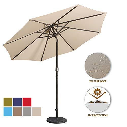 - Aok Garden 9 Feet Outdoor Market Patio Umbrella with Push Button Tilt and Crank Lift Ventilation,8 Sturdy Ribs Non-Fading Sunshade,Sand
