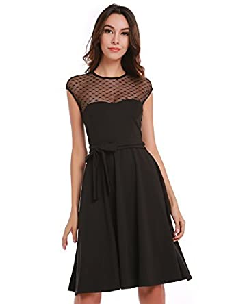 Blooming Jelly Womens Retro 50s Style Swing Dress Black Small at Amazon Womens Clothing store:
