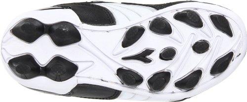 Diadora Forza MD Soccer Cleat (Toddler/Little Kid/Big Kid),Black/White/Silver,2 M US Little Kid