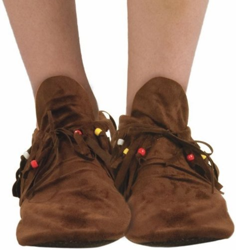 Hippie Shoes Costume (Forum Novelties Women Brown Hippie/Nat Am Moccasin Fits 7-10)
