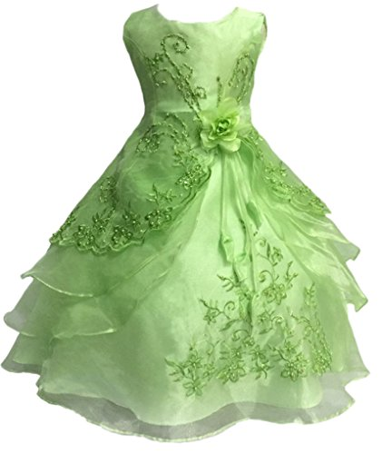 Shiny Toddler Little Girls EmbroideBright Green Beaded Flower Girl Birthday Party Dress with Petticoat 5t-6t,Bright Green