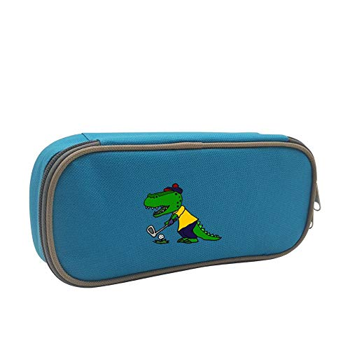 Pencil Case Funny Alligator Playing Golf Big Capacity Pencil Box Pouch Pen Organizer Large Storage Double Zipper Stationery