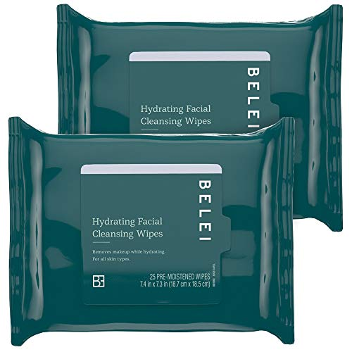 - Belei Hydrating Facial Cleansing Wipes, Fragrance Free, Alcohol Free, 25 Count (Pack of 2)