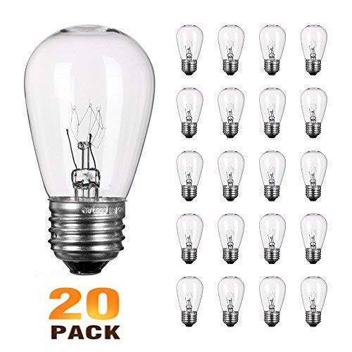 Pack of 20 Clear Replacement S14 Glass Light Bulbs for Lights String,Commercial Grade Warm White E26 Medium Base Bulb,11W Incandescent Filament S14 Bulb for Outdoor Patio Vintage String Lights