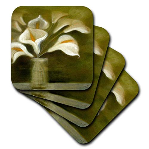3dRose cst_18262_1 Flowers Calla Lily-Soft Coasters, Set of 4