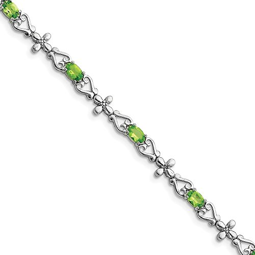 Sonia Jewels Sterling Silver Simulated Peridot & Diamond Bracelet (8mm)
