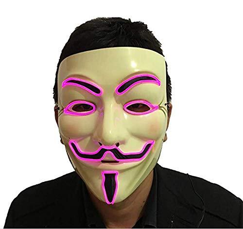 AYELET Halloween Light up V Mask EL Wire LED Mask for Vendetta Guy Fawkes Masquerades -