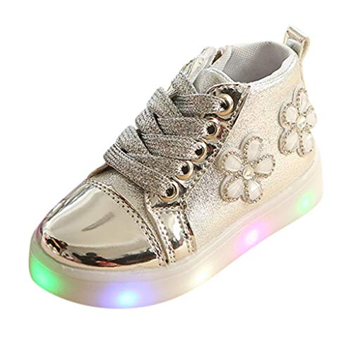 Girl's Light Up Glossy Slip On Loafers Flashing LED Casual Shoes Rhinestone -