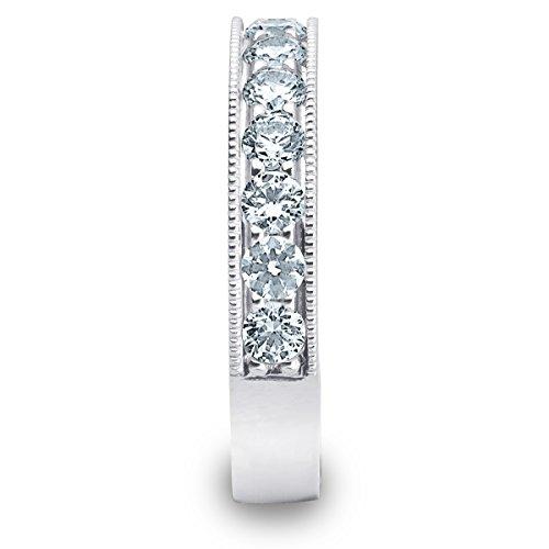 18K White Gold Diamond Milgrain Edge Prong Set Ring (1.0 cttw, F G Color, VVS1 VVS2 Clarity)