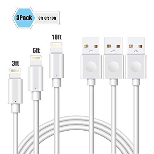 Lightning Cable, MFI Certified iPhone Charger PCLOCS 3Pack 3 6 9FT Cord Lightning Cable to USB Fast Charging Charger for iPhone Xs MAX X 8 Plus 7 Plus 6 6 iPod iPad Pro Touch Apple Devices, White