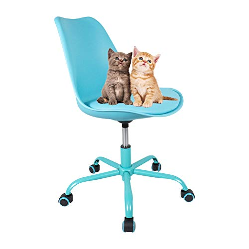 Office Chair Rolling Adjustbable Upholstered Modern Home Desk Computer Chairs for Kids Adults Yuiky (Blue)