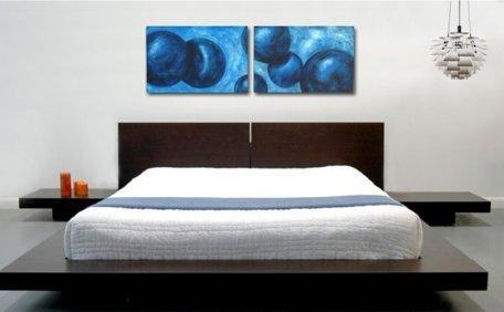 Wenge Platform Modern (SKB Family Modern Platform Bed w/Headboard & 2 Nightstands - Wenge Espresso Home Queen Size Stylish Wooden)