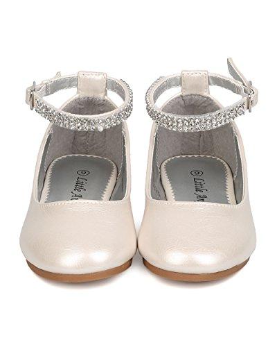 Little Angel FB37Leatherette Rhinestone Ankle Strap Ballerina Flat (Toddler Girl / Little Girl / Big Girl) - Ivory (Size: Toddler 9) by Little Angel (Image #3)