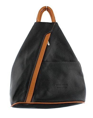 tan Shoulder Backpack Soft Handbag F264 Rucksack Black Leather fw1xqp7